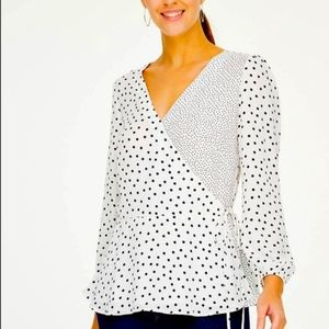 👑 LOFT Polka Dot Crossover Blouse 👑